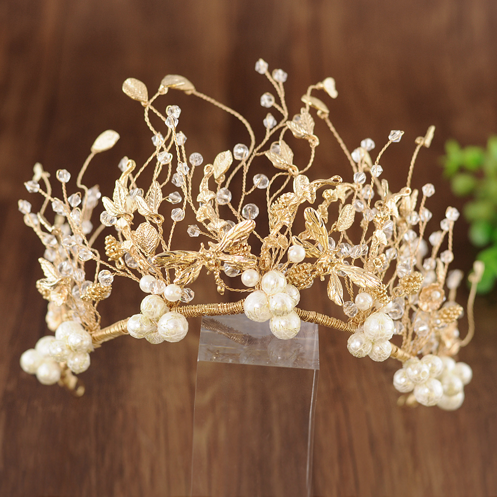 ZMHP214 Golden Pearl Wedding Hair Jewelry Bridal Hair Tiara Wedding Hair Accessories Wedding Headwear Hairband for Women