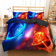Boniu 3d Galaxy Starry Sky Pattern Bedding Sets Moon Star Home Textile Duvet Cover With Pillowcase Bedclothes 2/3pcs Bedspread(China)