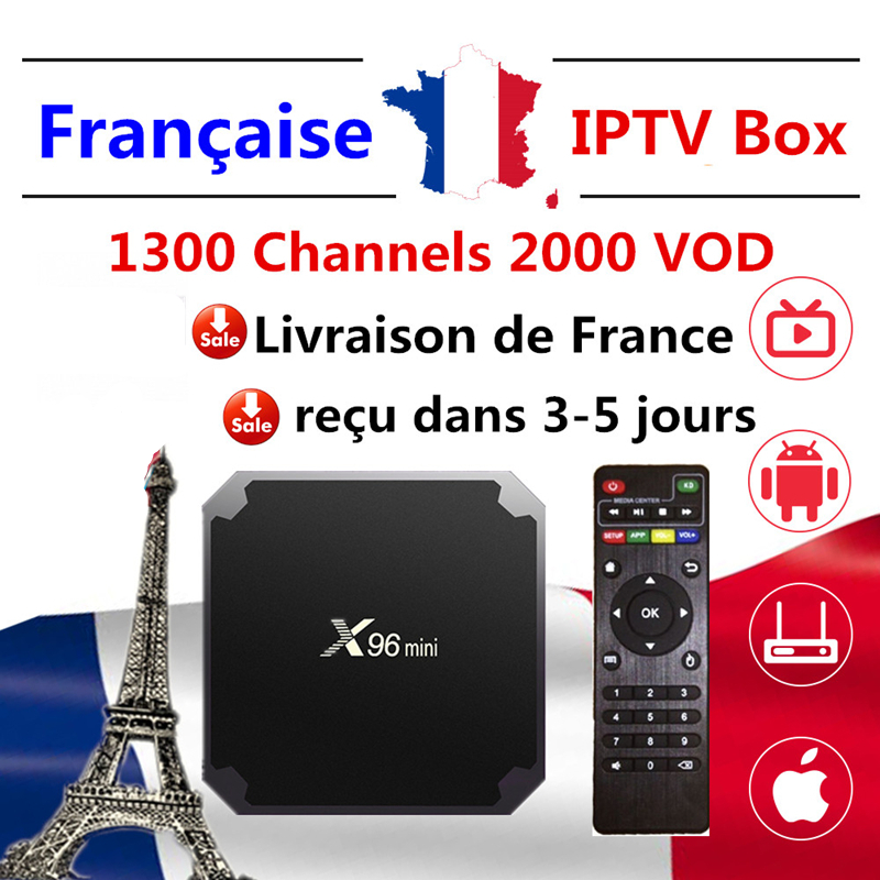 iptv france x96 mini android smart tv box 1 year french tv subscription 1500 live 3000 vod for french belgium arabic m3u iptv title=
