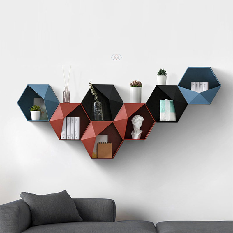 Nordic Living Room wall-mounted Geometric Punch-free Wall Decoration Bathroom Shelf Living Room Decoration Hexagon Storage Rack title=