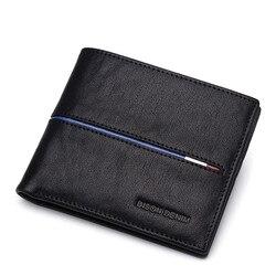 Мужской кошелек BISON DENIM, из натуральной кожи, с отделением для монет, держатель для карт