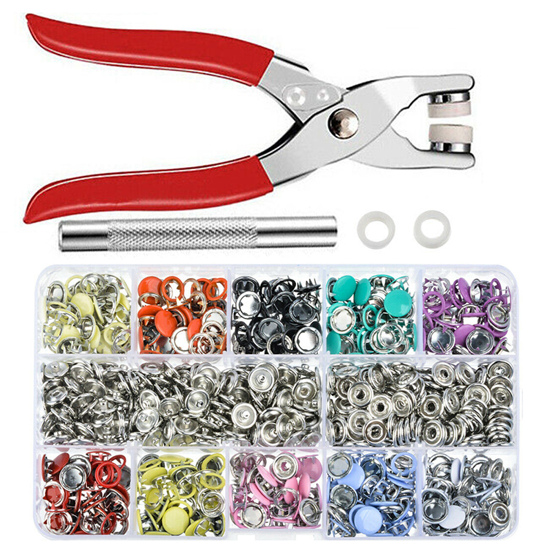 1pc Plier Tool + 100 Set 10 Color Metal Sewing Buttons Hollow/Solid Prong Press Studs Snap Fasteners for Installing Clothes Bags