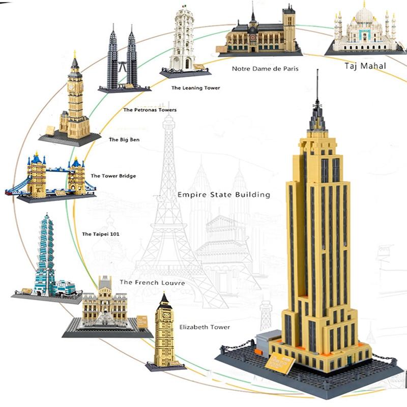 Legoing City House Buildings Classic Architecture Taj Mahal Big Ben Twin Towers Street View Model Set Building Blocks Kid