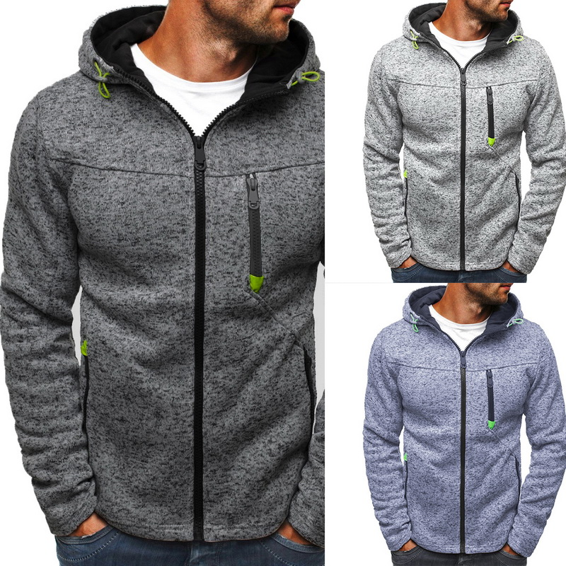 Hoodies Cardigan Streetwear Sweatershirt Hip-Hop Classic Patchwork Causal Zipper Male title=