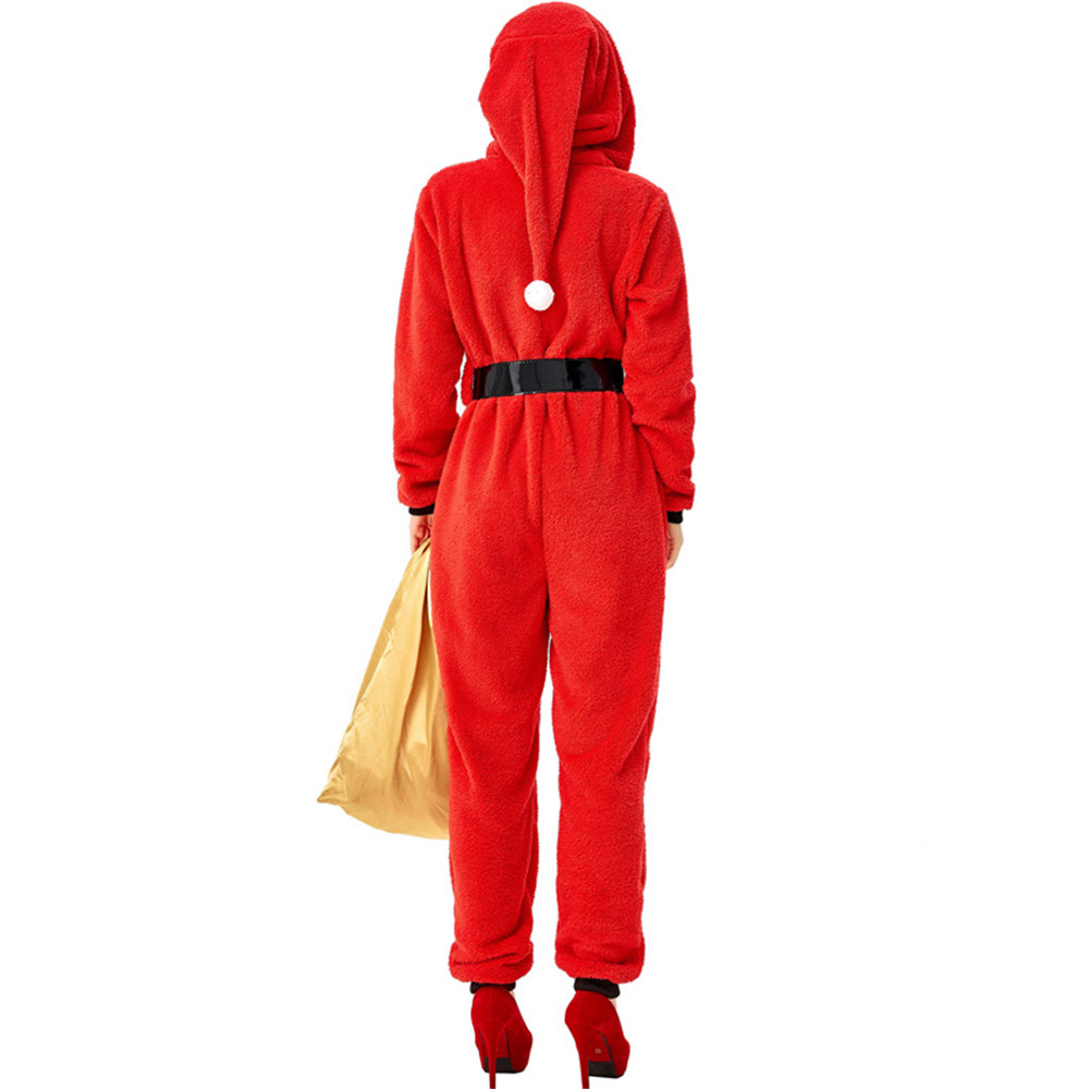 Red Green Women Kids Bodysuits Santa Claus Elf Coral Fleece Sleepwear Pajamas Christmas Cosplay Costume Onesies Uniform