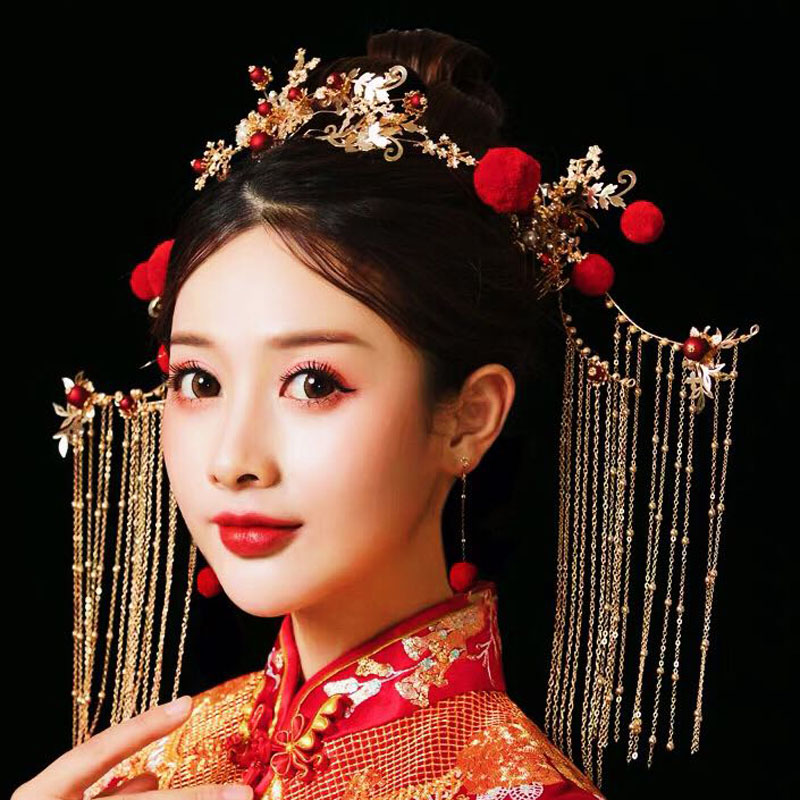 NiuShuya Elegance Chinese Traditional Red Pompom Bridal Headpiece Costume Hairpins Tassel Wedding Jewelry Hair Accessories