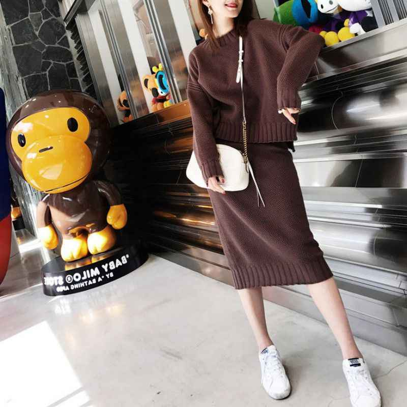 Korean Style Women Sweater Skirt Sets Warm Fashion Long Sleeve Knit Suits Turtleneck Casual Two Piece Suits Outfits Women S Sets Aliexpress