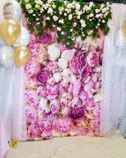 GoEoo 5X7ft Rose Floral Wall Newborns Portraits Photography Backdrop Art Fabric Studio Red Rose Flowers Wall Photo Backdrop