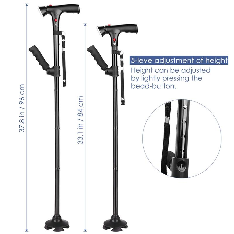 Stick - Collapsible Telescopic Folding Cane LED Walking Stick for Hiking Camping and Elderly