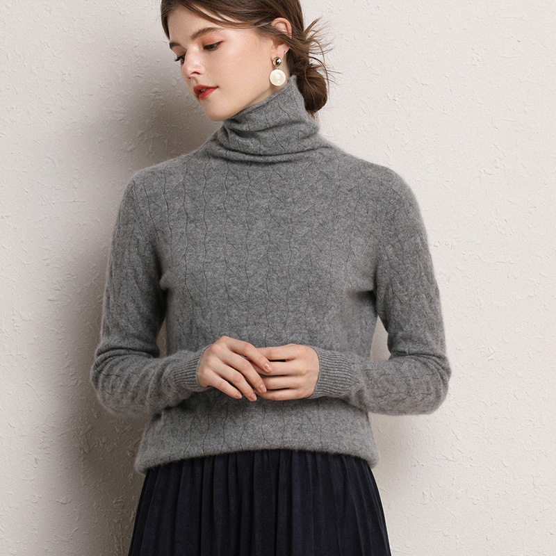 BARESKIY    Cashmere Sweater Women/'s Turtleneck Pullover New 100% Cashmere Sweater Solid Color Slim Warm Long Sleeve Sweater