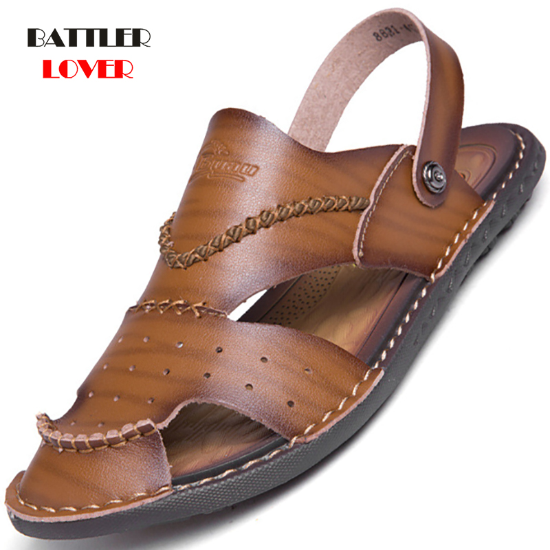 Classic Mens Sandals Summer Genuine Leather Male Beach Sandals Soft Comfortable Male Outdoor Beach Slippers Slip-on Mans Sandals