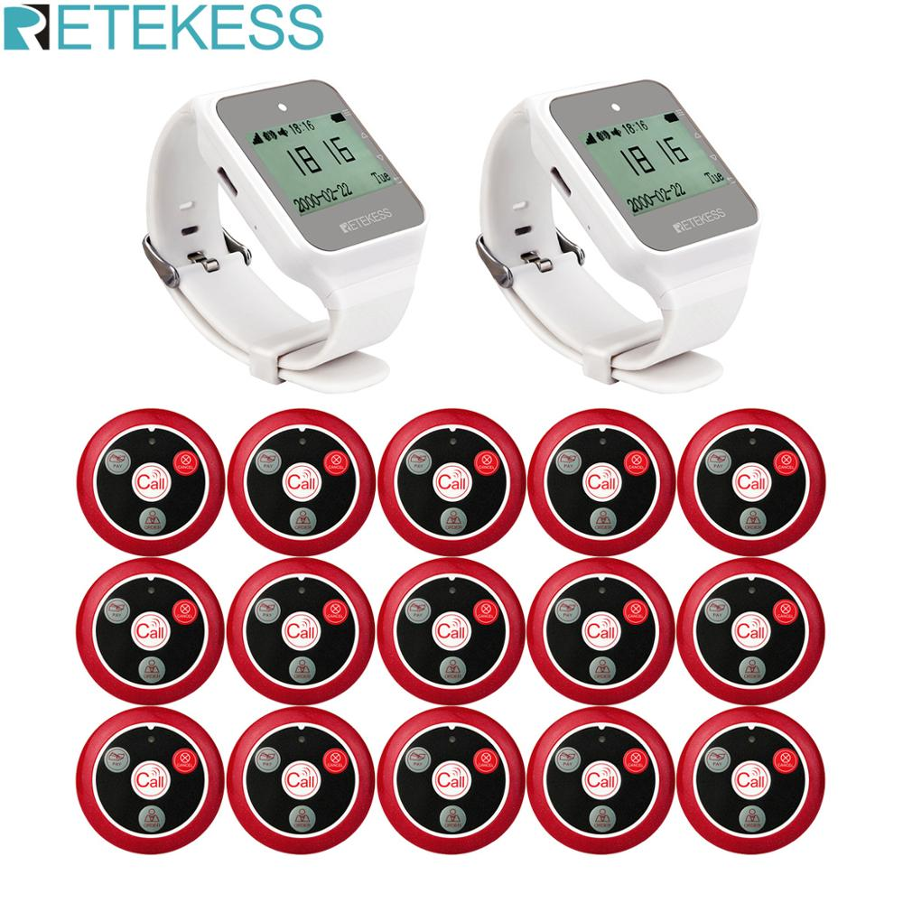 RETEKESS Waiter Call Wireless Calling System Restaurant Pager Customer Service 2pcs TD108 Watch Receiver+15 T117 Call Button