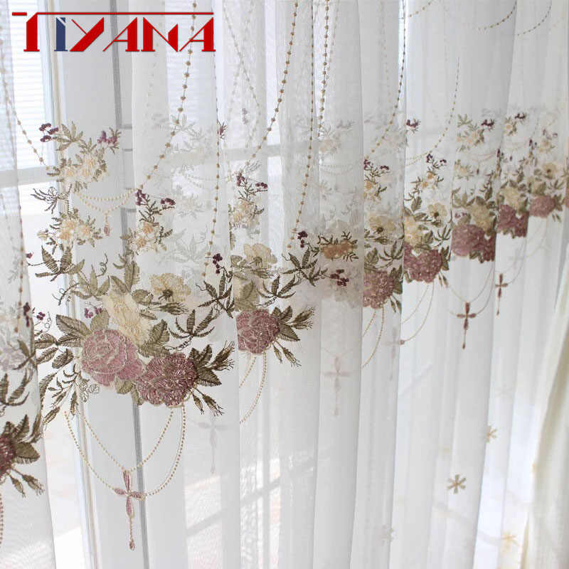 European Luxury Embroidered Curtains Ready Sheer Curtains For Living Room Bedroom Window Screen Kitchen Tulle Curtains M063#4