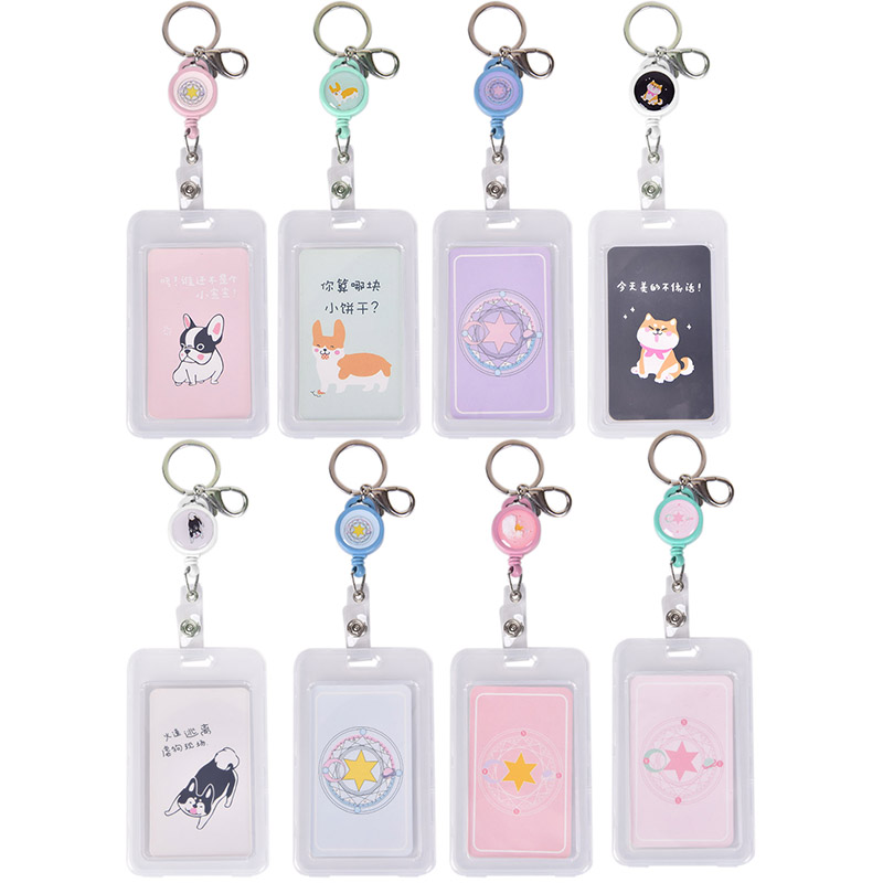 Durable Plastic ID Card Holder Card Pocket Case Badge With Keychain Key Ring 8 Colors