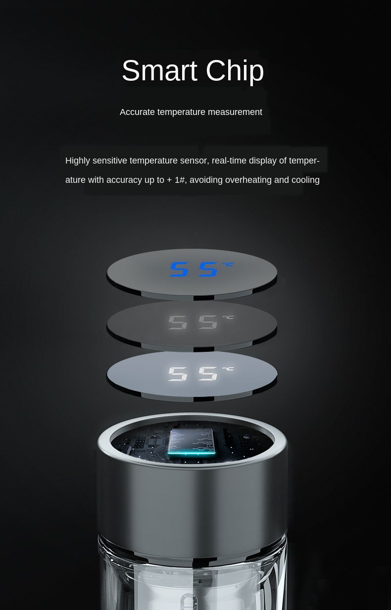 Thermos Intelligent Verre avec smart thermostat digital | oko-oko