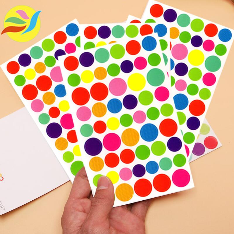 5Pcs/lot Colorful Circle Stickers Scrapbook Planner Memo Stationery DIY Diary Album Phone Stickers Kids Toy