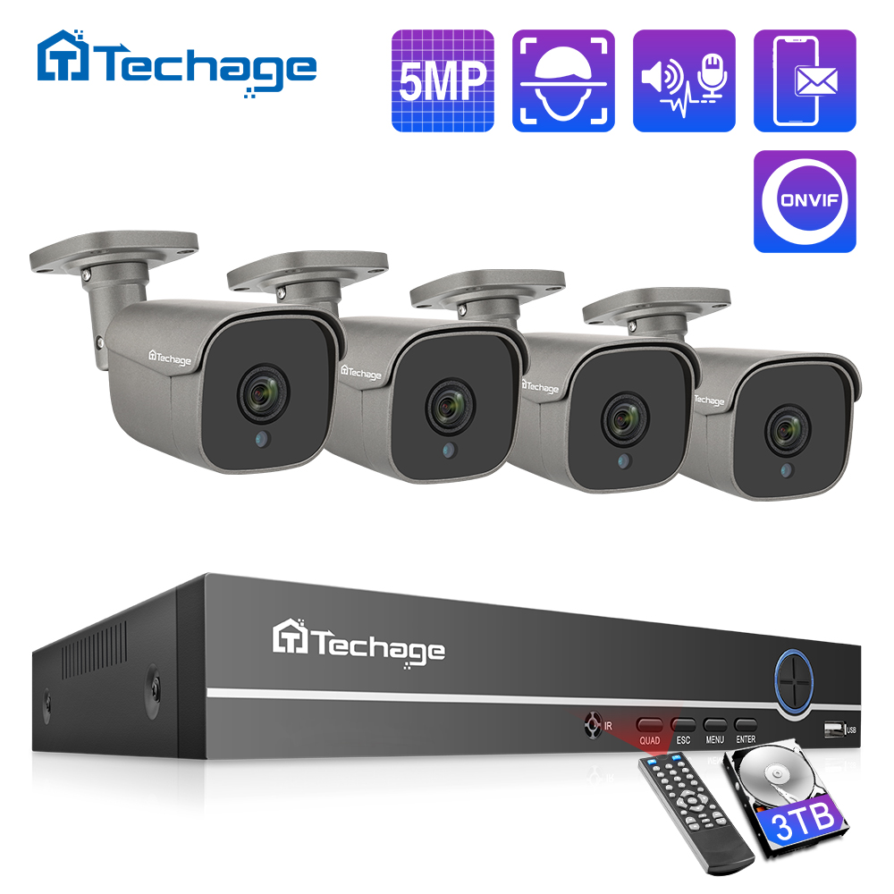 Techage H.265 4CH 5MP POE NVR Kit CCTV System Two Way Audio Alarm Sound AI IP Camera IR Outdoor Video Security Surveillance Set