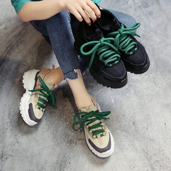 SAGACE Women Colorblock Women Sneakers Fashion Casual Vulcanized Shoes Tenis Feminino Ladies Lace Up Trainers Trend muffin shoes