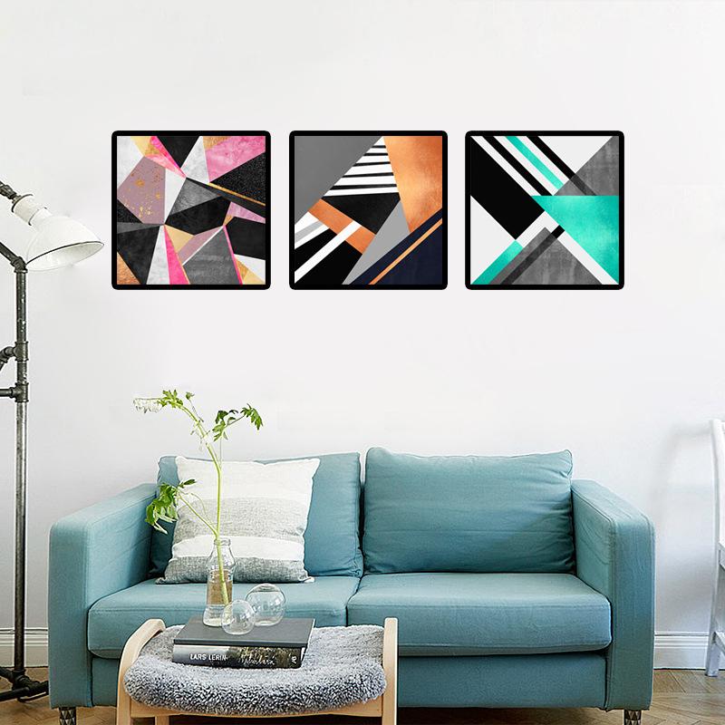 Pintura-em-tela-abstrata-geom-trica-n-rdico-azul-fio-cor-de-ouro-Decora-o-Da