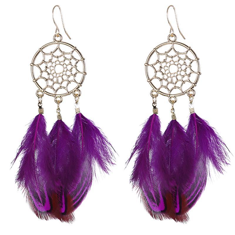 Boucles d'Oreilles Attrapes Rêve à Plumes Violette bijoux femme moderne style chic et bohème boho capteurs de rêves indien amerindien
