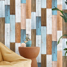 Peel And Stick Wallpaper 3D Wood Plank Brown/White/Blue Vinyl Self Adhesive Contact Wall papers Shower Room Wall Home Decor(Китай)