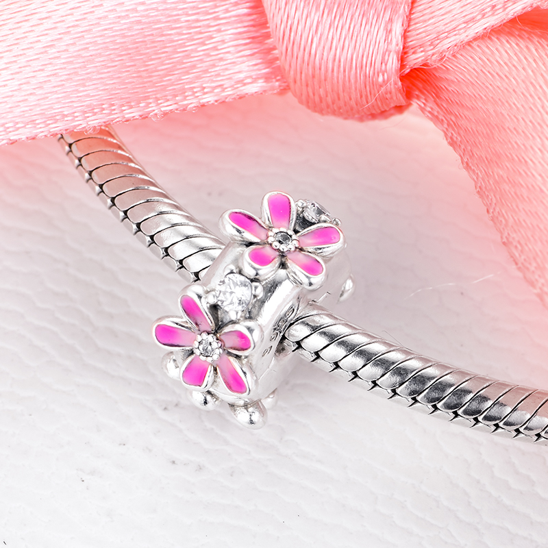 2020-New-Spring-Pink-Daisy-Flower-Clip-Charms-925-Sterling-silver-Clip-beads-fit-Beads-Bracelets