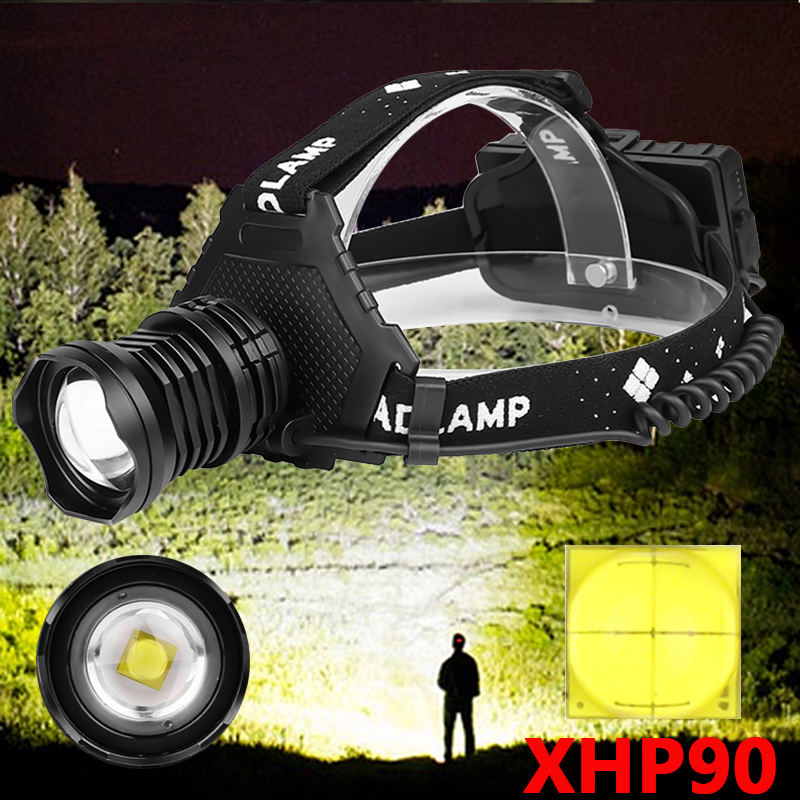 XHP90 2064 Led headlamp Headlight the most powerful 32W head lamp zoom power bank 7800mAh 18650 battery Z90+