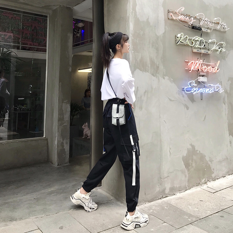 Hot Big Pockets Cargo pants women High Waist Loose Streetwear pants Baggy Tactical Trouser hip hop high quality joggers pants 42