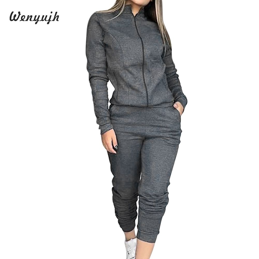 WENYUJH Sweatshirts Suits Sportswear Joggers Running-Set Long-Sleeve Workout Fleece Women 2piece title=