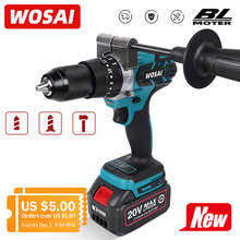 Screwdriver Drill Li-Ion-Battery Electric-Power Wosai 20v Brushless 115NM 20-Torque