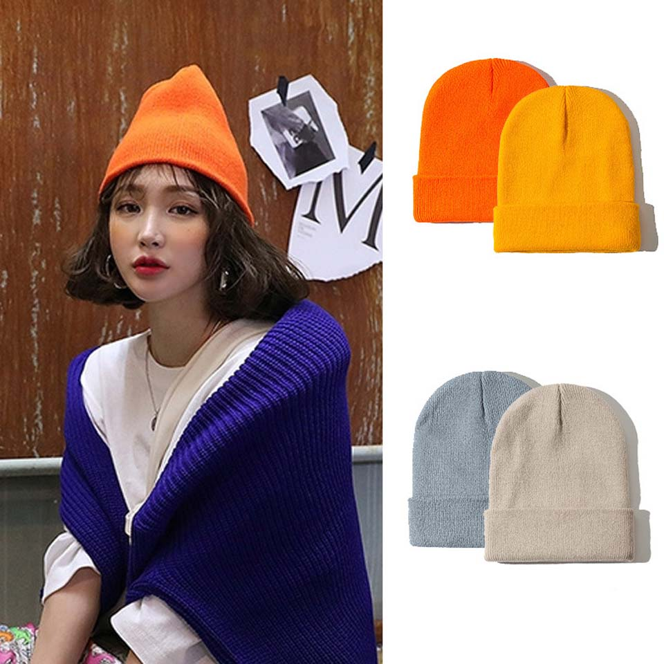 Beanie Autumn Hats Skullcap Knitted-Cap Warm Winter Women Fashion Soft Unisex Solid Fluorescent title=