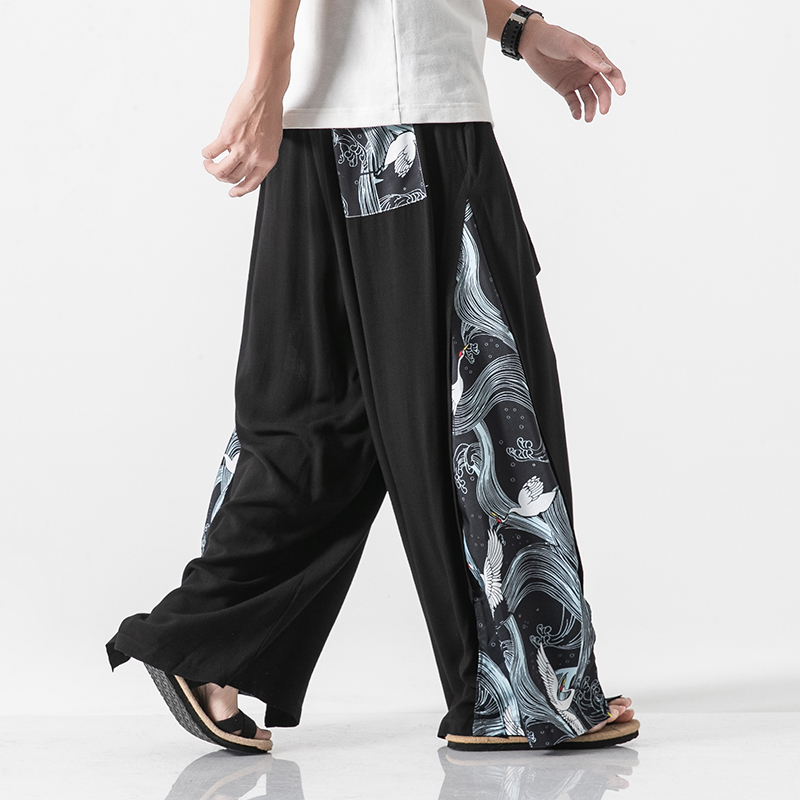Cotton Linen Wide Leg Pants Mens Chinese Style Patchwork Vintage Man Leisure Trousers 2020 Summer Harem Pants Male Fashion Pants