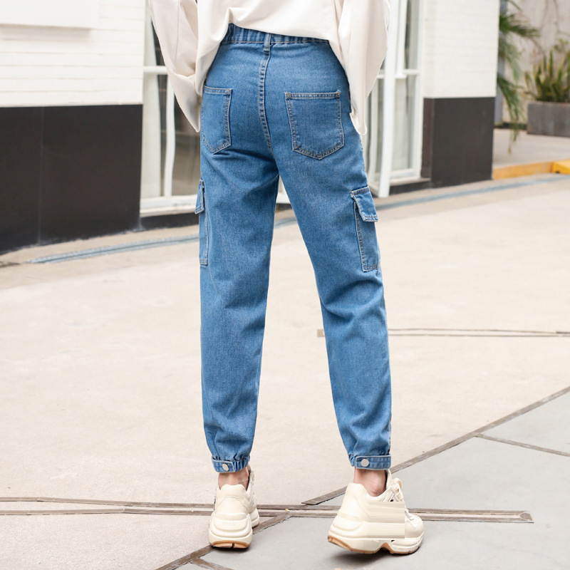 High Waist Casual Harem Pants Lady Jeans Loose New Korean Elastic Waist Denim Trouser Cloth Woman Summer Spring