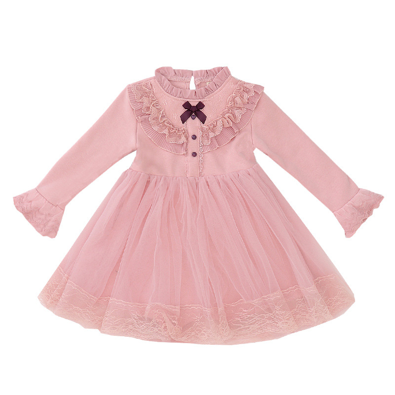 Girls Fleece Tutu Dresses Children Lace Layered Prom Gown Flare Sleeve Princess Spring Winter Dress Cotton Frocks for Kids 2-10T