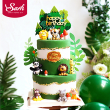 Cake-Toppers Fox-Decoration Gifts Happy-Birthday-Supplies Animals Monkey Giraffe-Lion