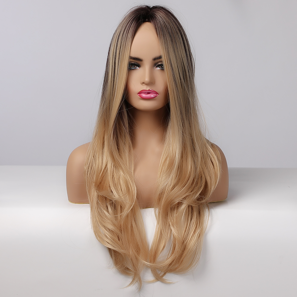ALAN EATON Synthetic Wigs Long Natural Wave Omber Black Brown Golden Honey Hair Wigs Middle Part Cosplay Heat Resistant Fiber