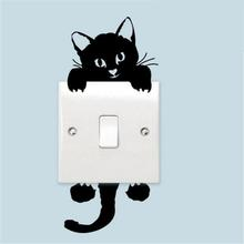 Wall-Stickers Cat-Switch Bedroom Funny Home-Decoration Living-Room Black Cute DIY