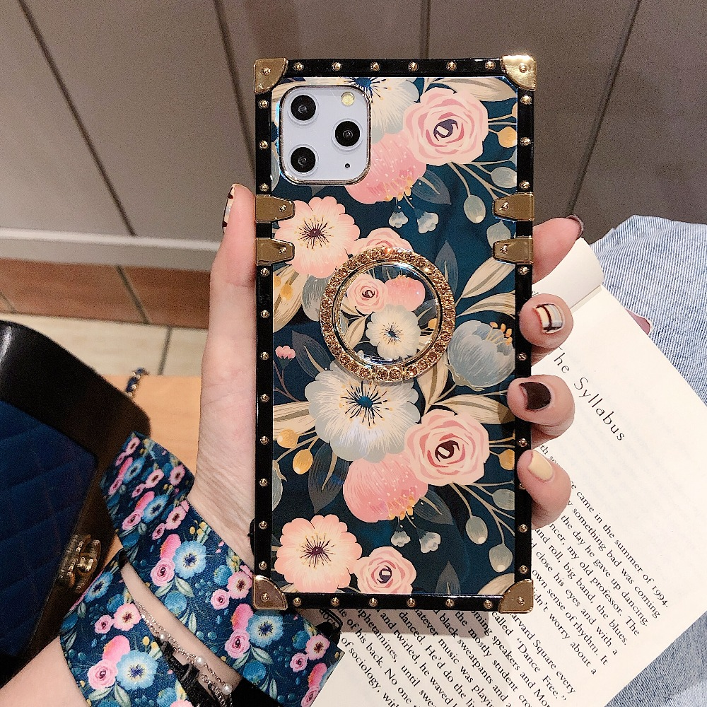 For Samsung Note10 Plus Note9 8 S10 Plus S10e S8 S9 A70 A50 A20 A30 M30 M20 Case Square Diamond Stand Blue Ray Rose Flower Cover (3)