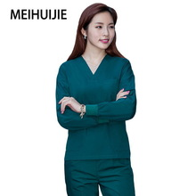 Split-Suit Scrub-Uniform Work-Clothes Beauty Salon Veterinary Long-Sleeve Pet-Shop