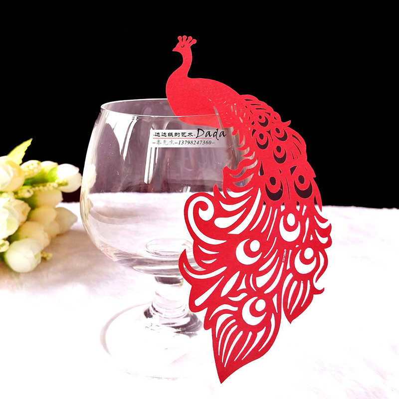 50pcs Peacock Name Place Card Laser Cut Wine Glass Escort Cup Cards Baby Shower Birthday Wedding Table Decoration Party Supplies