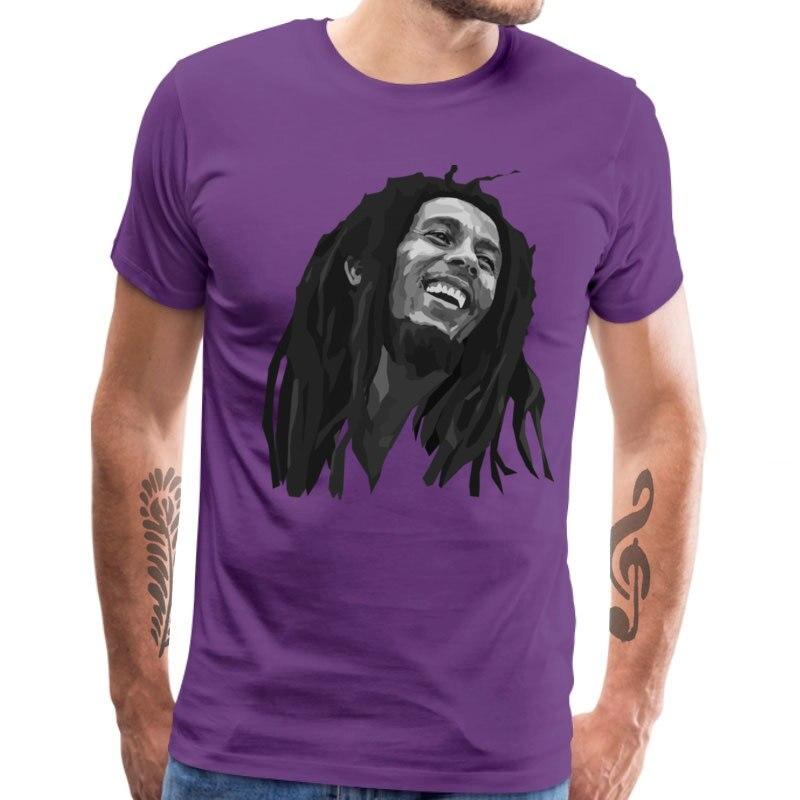 Casual Bob_Marley_1_1249 Short Sleeve Labor Day Tops & Tees 2018 New Fashion Round Collar All Cotton Top T-shirts Men's T-shirts Bob_Marley_1_1249 purple