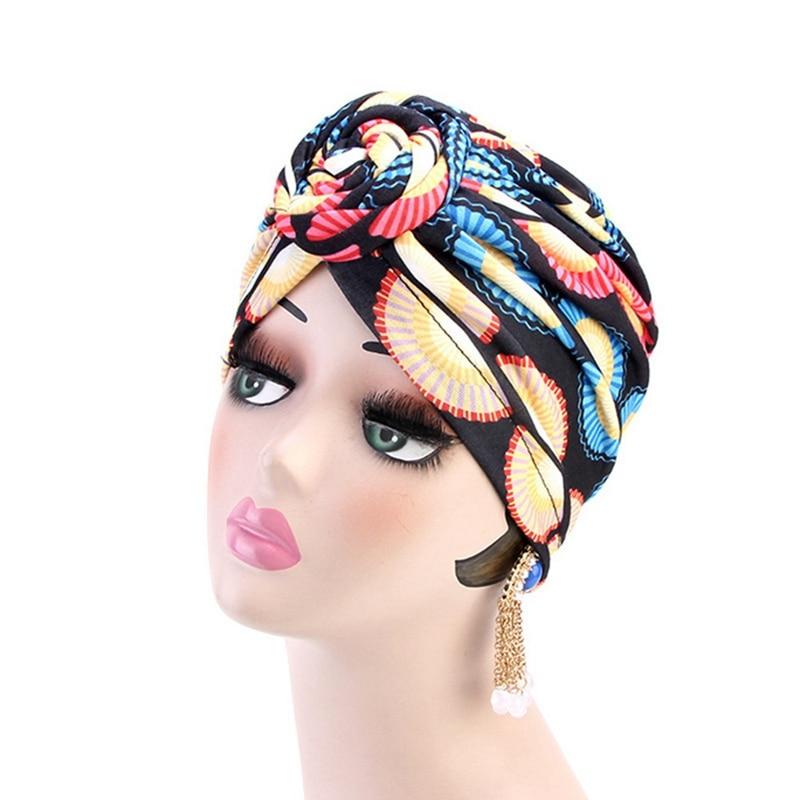 Ethnic Knotted Turban Hat Stretch Chemo Cap Muslim Women Bandana Headwrap