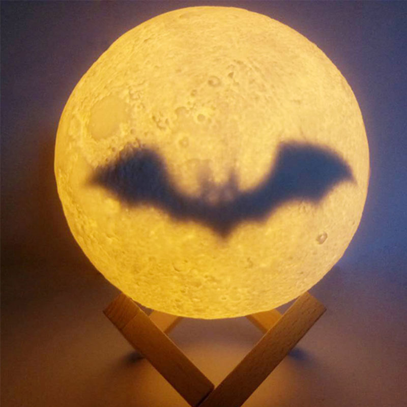 Spider Werewolf 3D Moon Lamp LED Night Light 15cm Moon 3D Table Lamp Touch Pat Switch LED Bedroom Decorative Light Home Decor