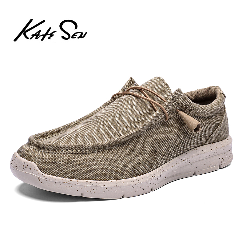 KATESEN 2020 summer canvas men shoes breathable casual driving shoes slip easy to wear men's flat shoes soft big size loafers title=