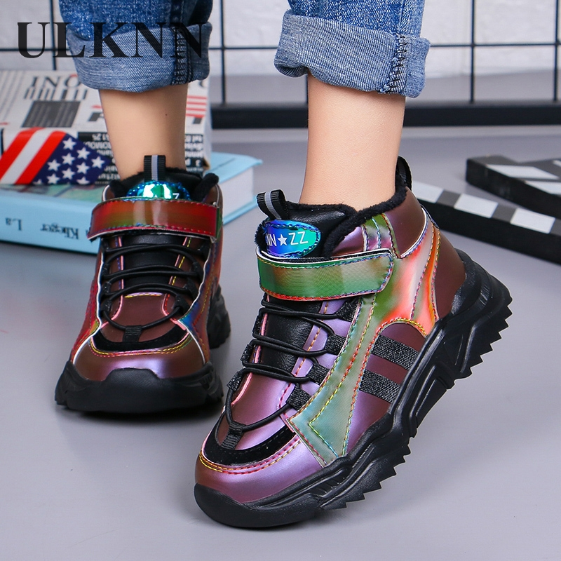 Kids' Warm Sneakers 2020 Winter New Fashion Velvet Leather Children's Shoes Student Running Boys Travel Girls Sports Size 27-37