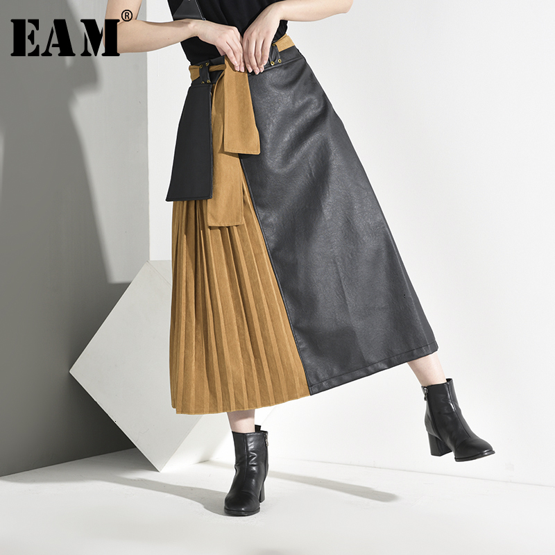 [EAM] High Elastic Waist Pleated Split Pu Leather Bandage Half-body Skirt Women Fashion Tide New Spring Autumn 2019 A385-01