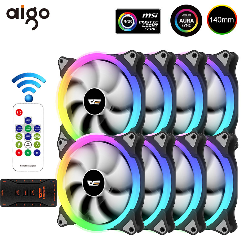 Aigo CS140 140mm Case Fan PC Cooling RGB Fan AURA SYNC 5V/3pin Header with IR Remote Quiet Computer Case CPU Cooler and Radiator