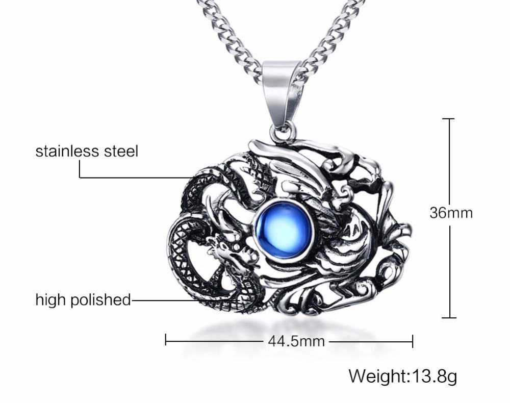 Chinese Feature Mens Necklaces Stainless Steel Dragon and Phoenix Pendant Necklace Men Vintage Punk Bike Jewelry Accessories blue collares collier colar choker 15