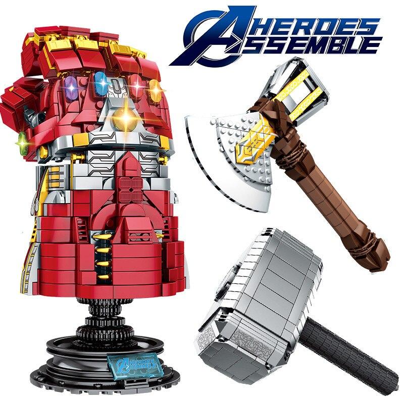 Marvel-Super-Heroes-Avengers-4-Endgame-Weapon-Thanos-Infinity-Gauntlet-Mjolnir-Stormbreaker-Legoings-Blocks-for-Kids