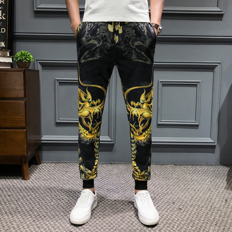 Casual Men Dragon Printing Pants Drawstring Mens Joggers Hip Hop Trousers Men Clothes 2019 Summer New Slim Fit Harem Pants Men